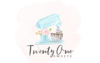 watercolour mixer, kitchen ain, stand mixer clip art. logo design, cookie, chocolate drip, blue, bakery logo