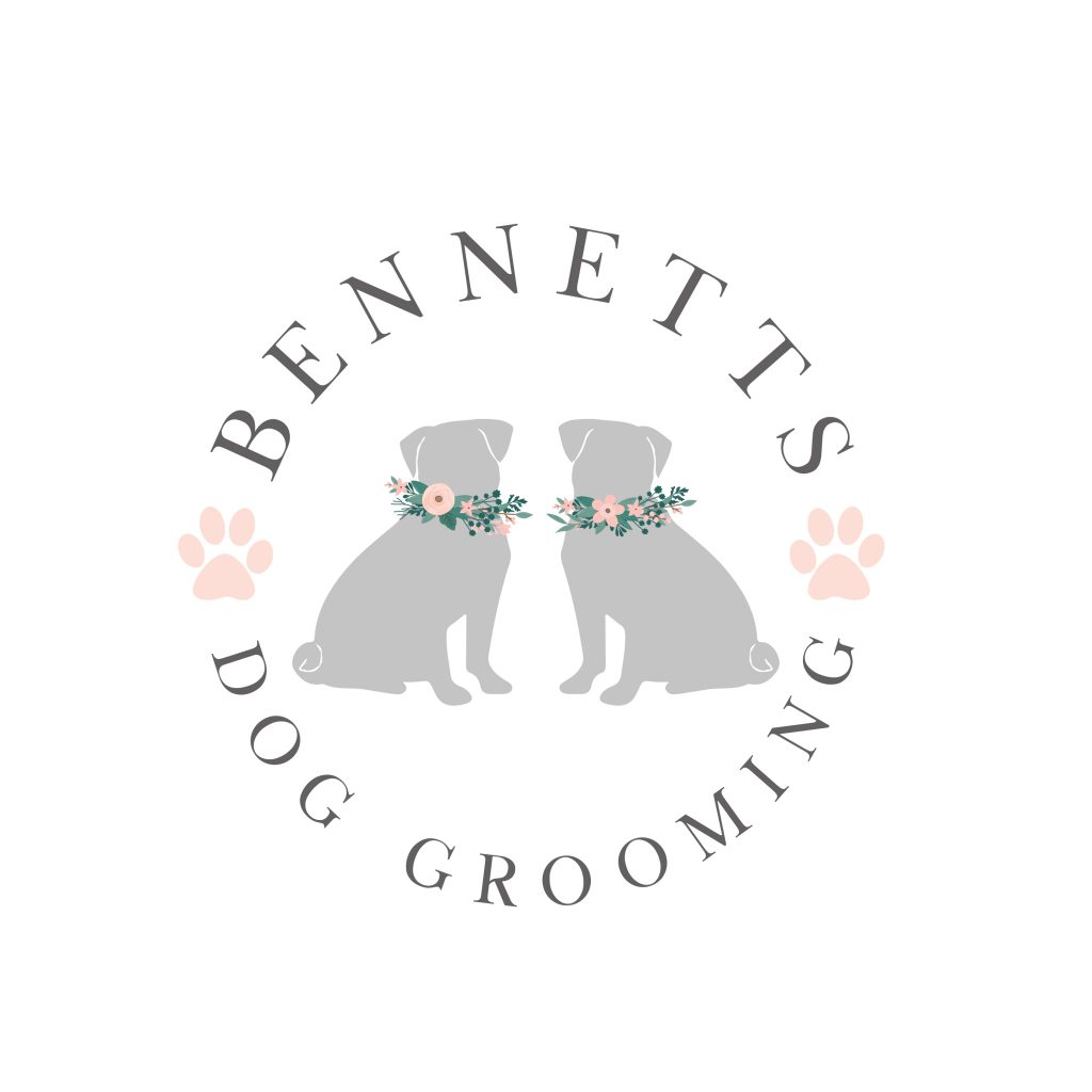 pug logo, pug clipart, dog grooming logo, grey, pug with flowers logo, pink paw prints, silhouettes