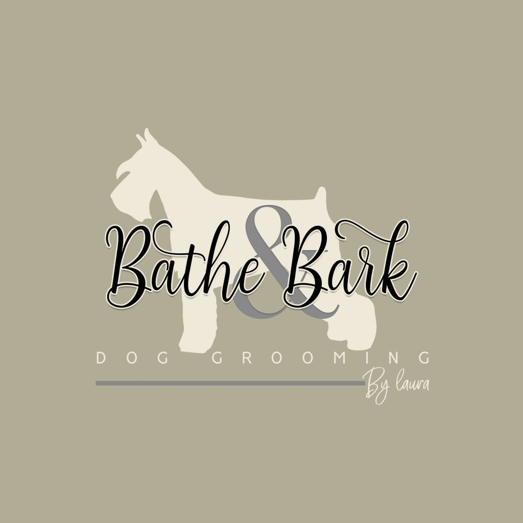 Dog grooming logo idea. schnauzer silhoutte, green, cream grey, groomign dog logo, bathe and bark