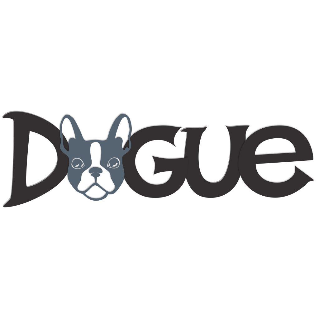 french bull dog logo, grey, hand lettered