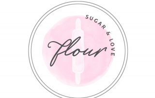 circle watercolour logo, rolling pin, pink, white, cookie, cake, bakery logo design