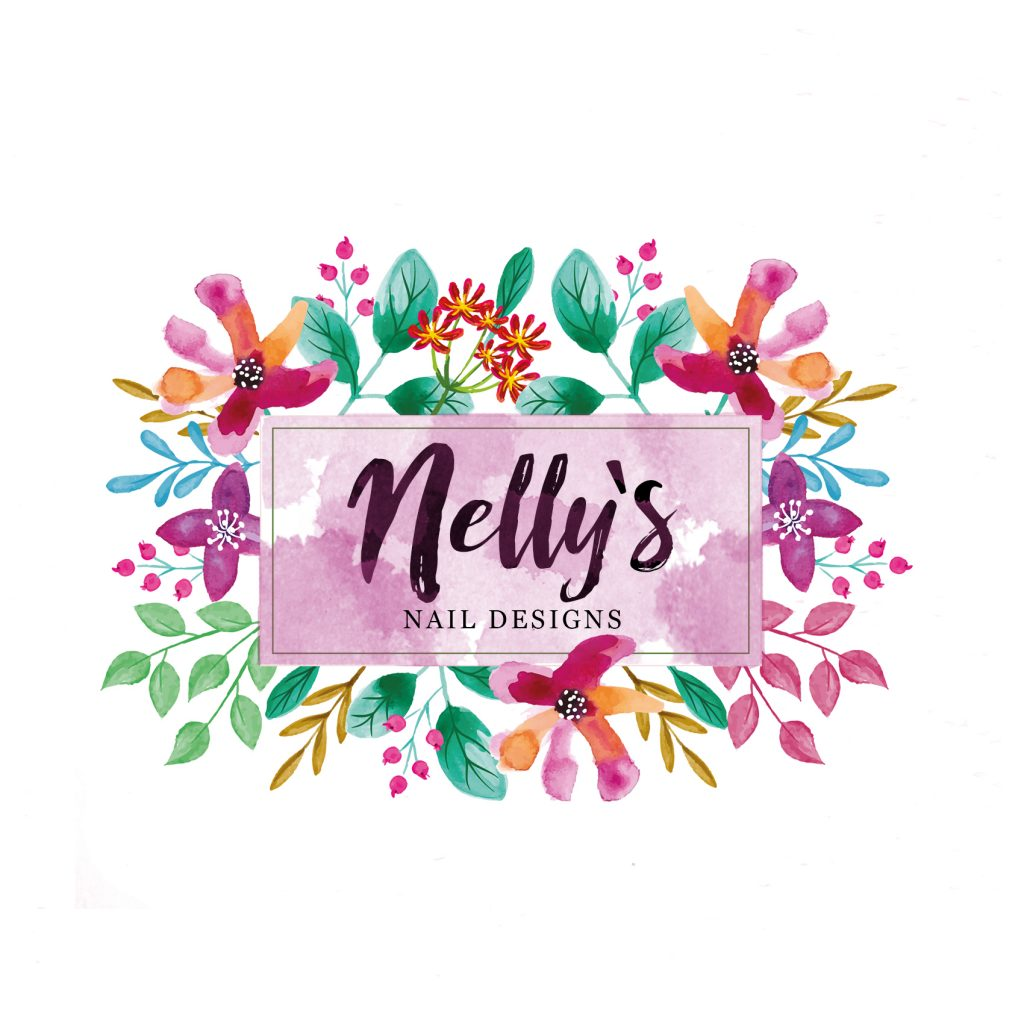 floral watercolour logo, pink, orange blue, green, flower logo, beauty, florist, branding