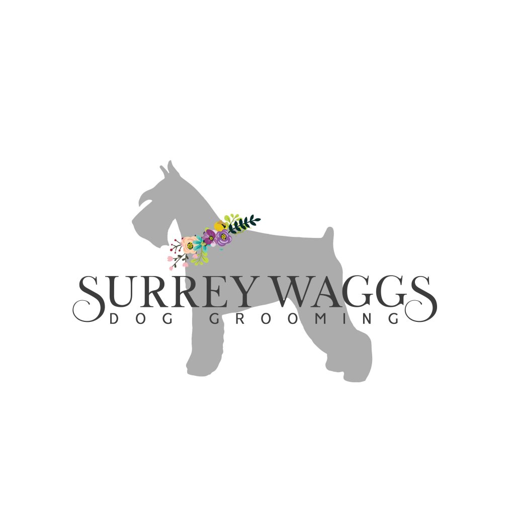 schnauzer silhoutte dog, grooming, logo, unique, flowers, watercolour, waggs,