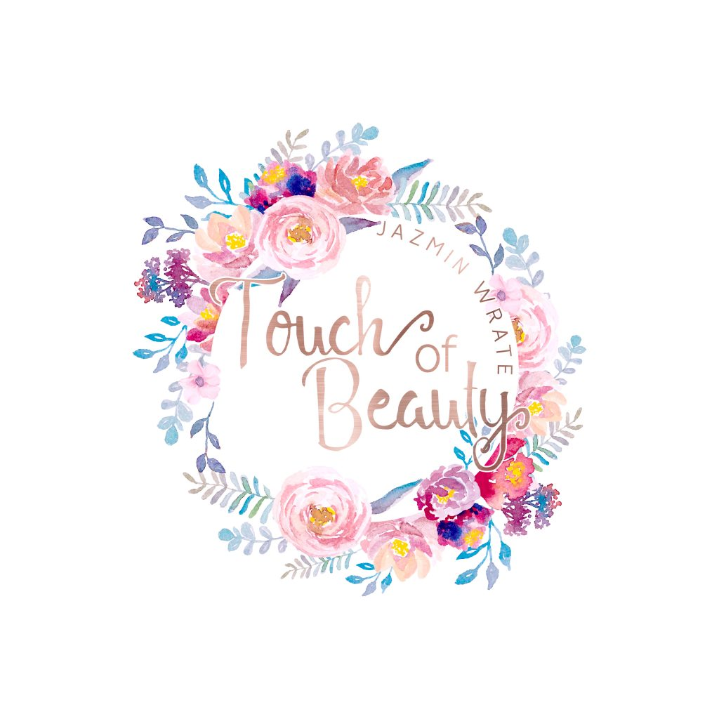 watercolour flowers logo, clipart, beauty, rose gold, pink roses, blue, purple, yellow, logo branding, makeup