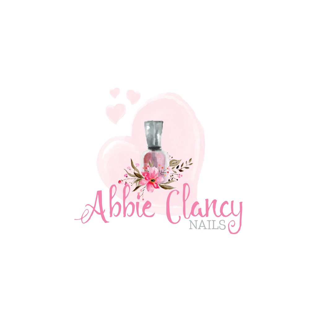 nail logo, nail polish, watercolour, pink heart, flowers, beauty, makeup, unique beauty logo