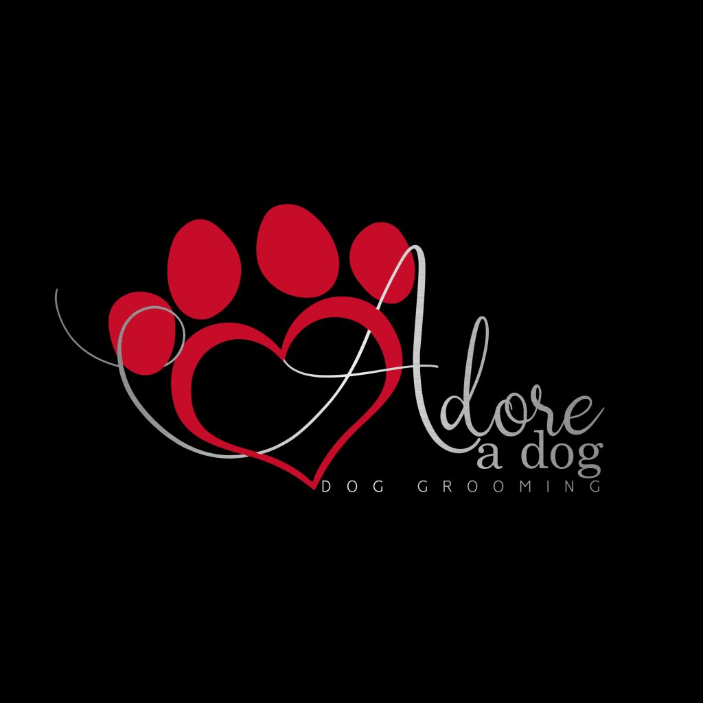 dog logo, red heart, silver, dog grooming, paw heart clip art