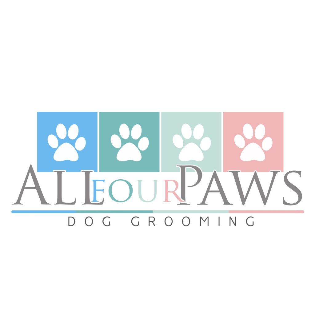 four paws logo, 4, dog grooing logo ideas, blue, green, pink, green, mint, all four paws