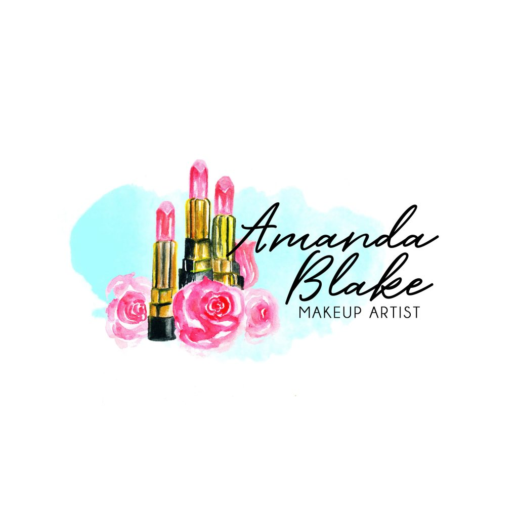 lip stick logo, flowers, watercolour roses, beauty logo, makeup logo, pink, beauty branding, unique make up logo, artist