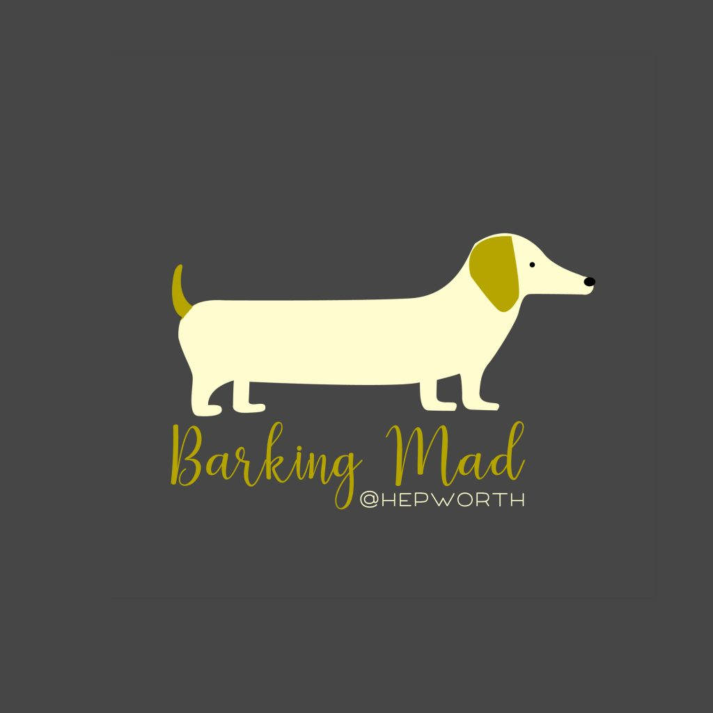 sausage dog, logo, grooming, dacshund, green, grey, cream, barking mad, hepworth