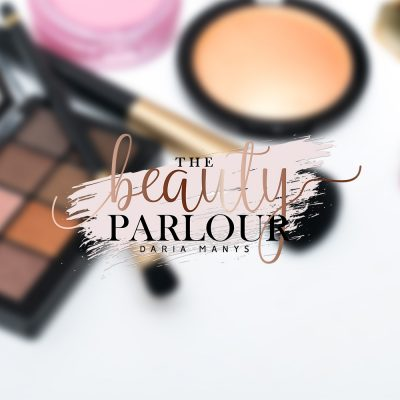 beauty logo, make up, blush pink, rose gold
