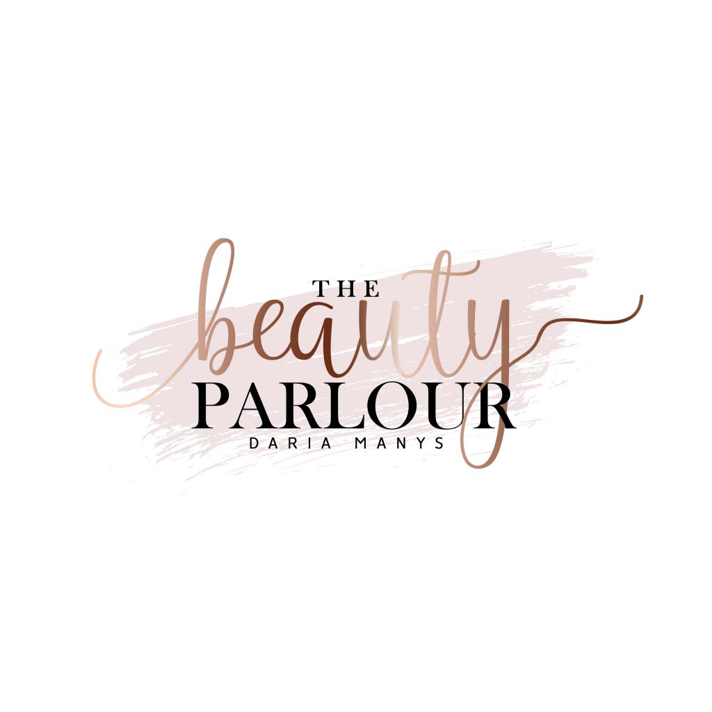 beauty logo, ideas, make up, artist, rose gold, blush pink, paint stroke logo, minimal, stylish logo