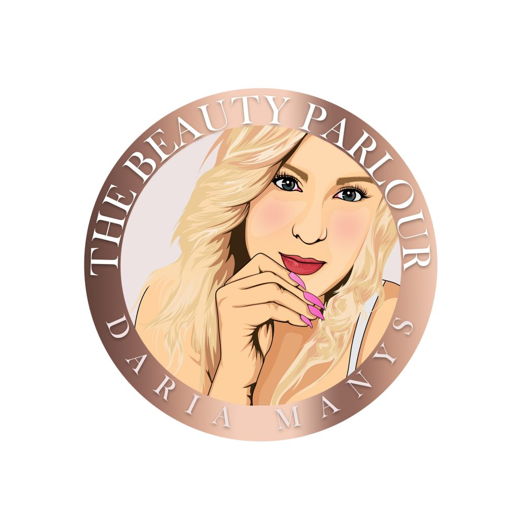 beauty logo, cartoon person, blonde hair, round logo, unusual logo design for beauty, nails