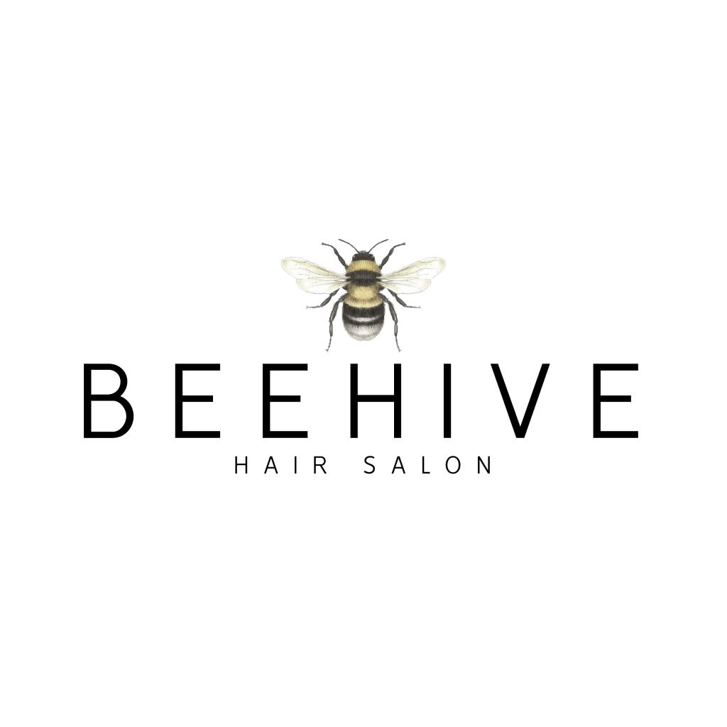 watercolour bee, logo, hair logo, beauty, manchester bee, beehive, open wings, black yellow, buzz,