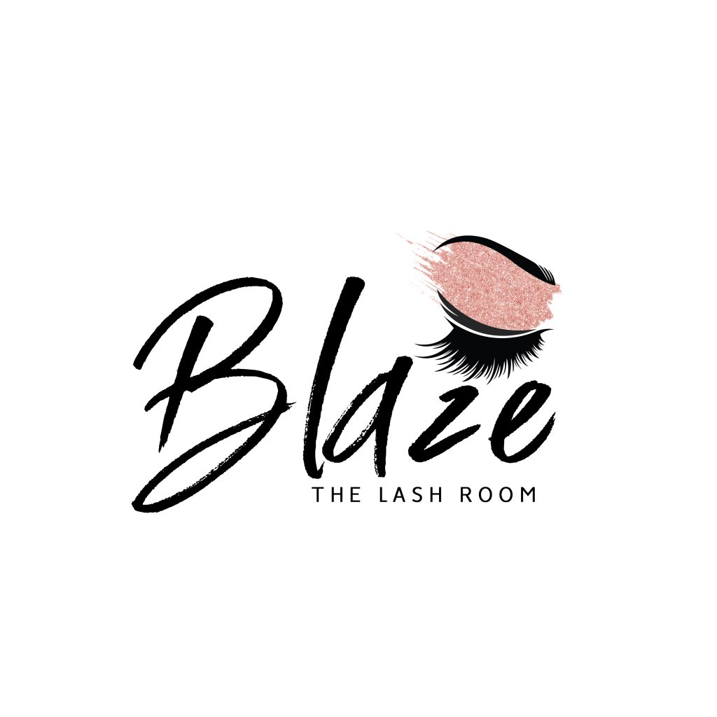 eyelash logo, glitter, rose gold, lash room, beauty logo design, eybrows, paint stroke, unique