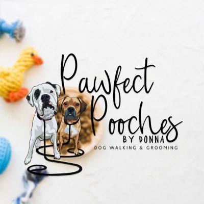 cartoon dog logo, boxer, white boxer dog, dog grooming logo, pawfect pooches