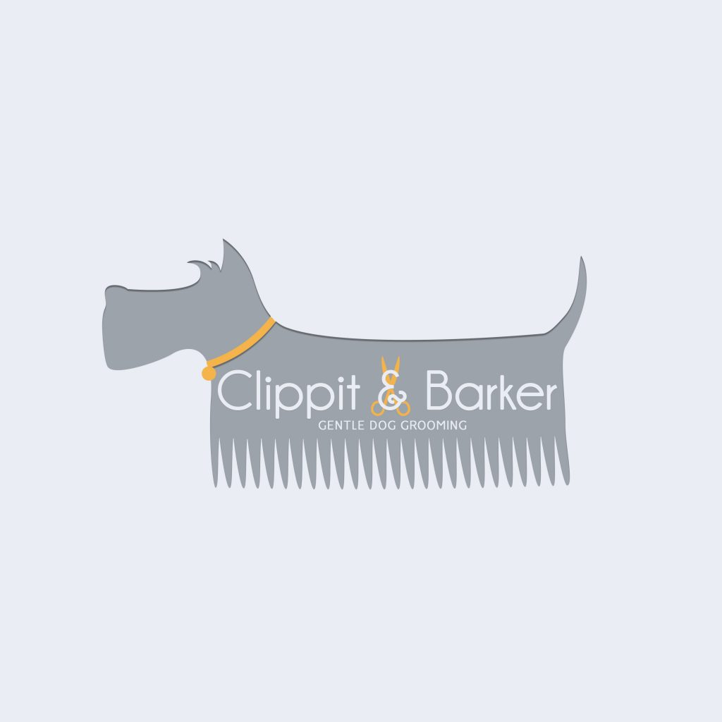 dog comb logo, schnauzer comb clipart, grey, orange, grooming, branding, ideas