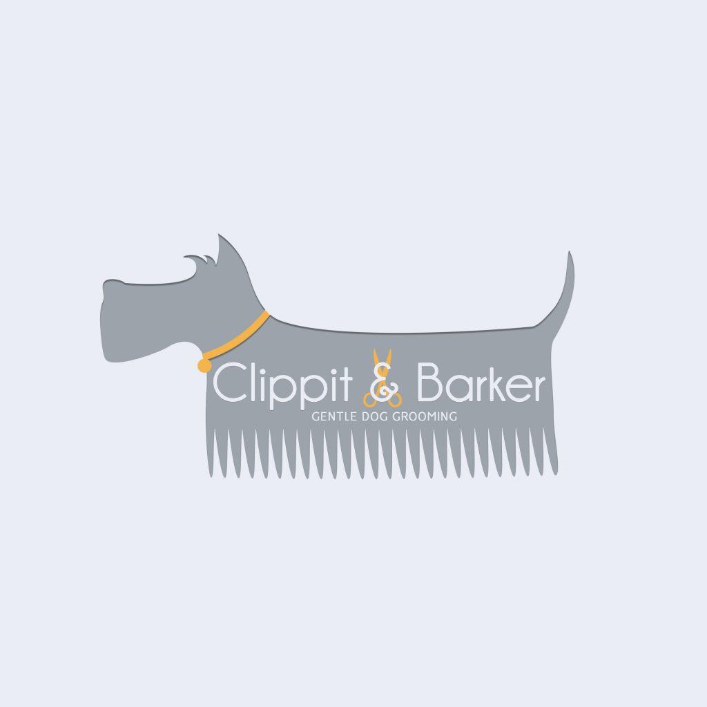 dog comb logo, schnauzer comb clipart, grey, orange, grooming, branding, ideas