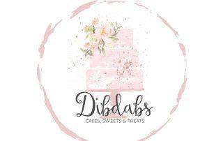 watercolour logos, pink, cake, bakery, gold logo design