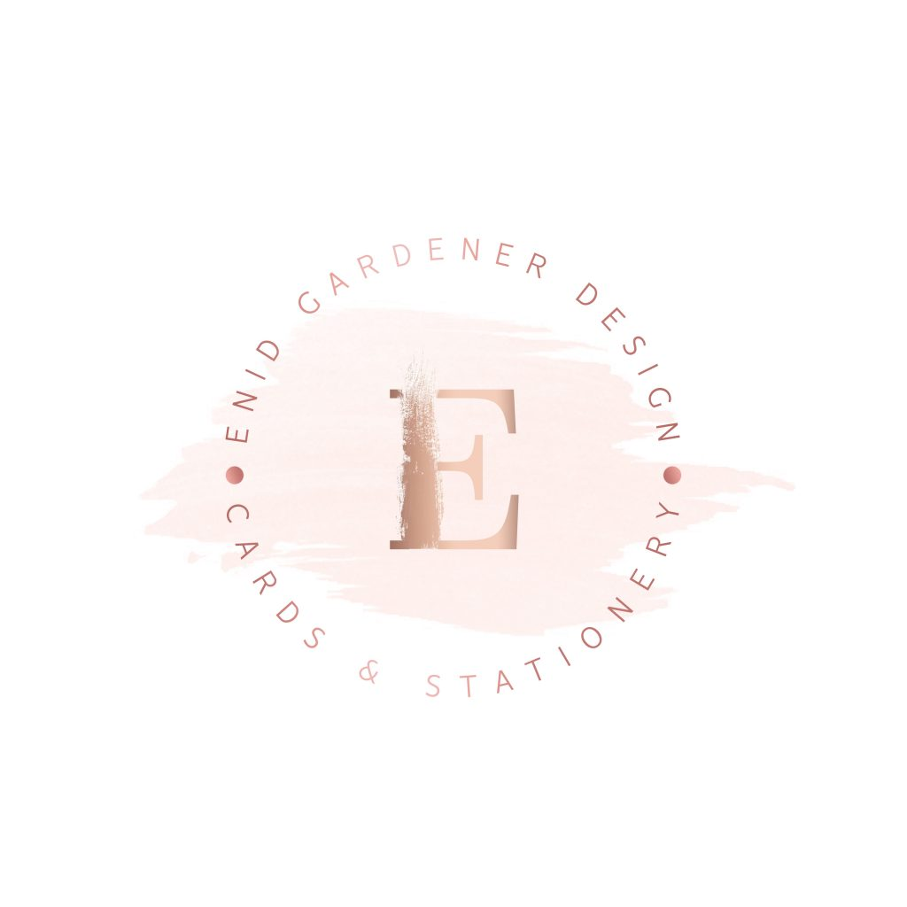 stationery logo, beauty, pink, blush, rose gold, paint stroke logo, unique, circle logo