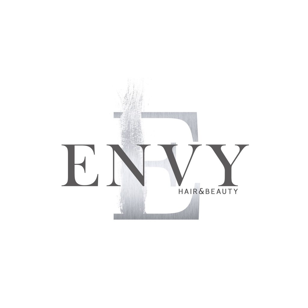 silver logo, beauty logo, hair logo, paint stroke, envy hair, unique, stylish, logo, branding
