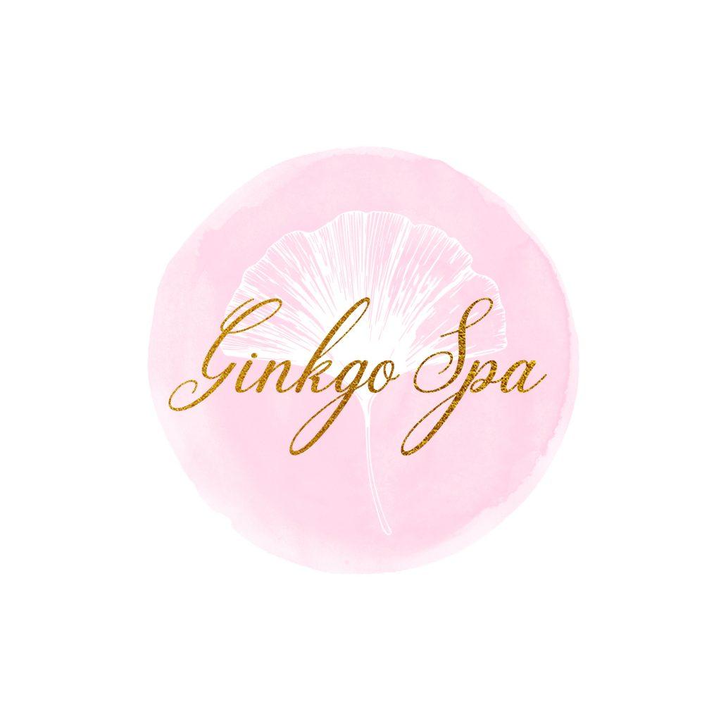 ginkgo leaf logo, white, pink, watercolour logo, beauty, spa, pretty, round logo