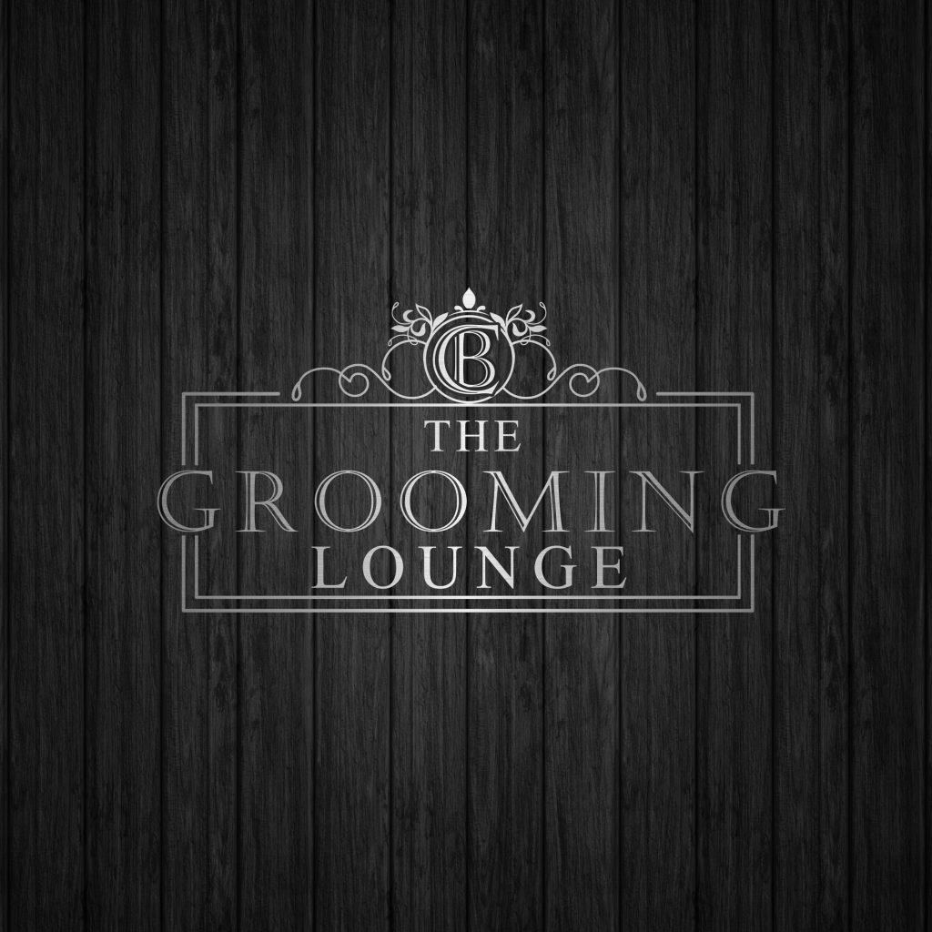 monogram logo, grooming logo, silver and black, dog grooming