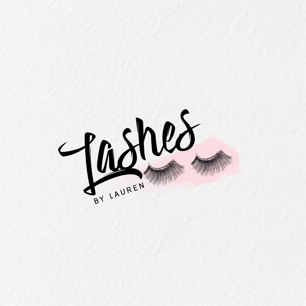 eye lashes logo, beauty logo, extensions, pink, pretty, lashes unique, logo design