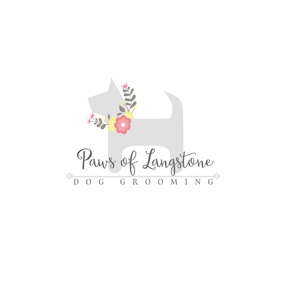 dog grooing logo, flowers, paws, unique, grey pink