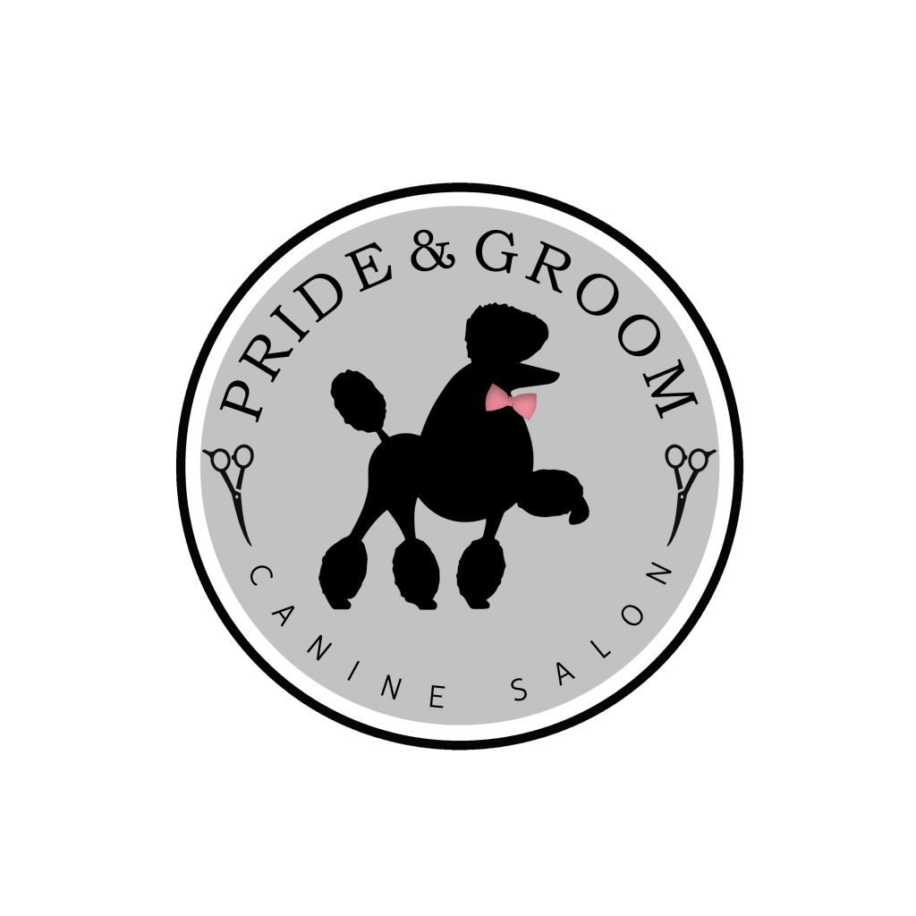 poodle with bow, dog logo, grooming, grey black and pink