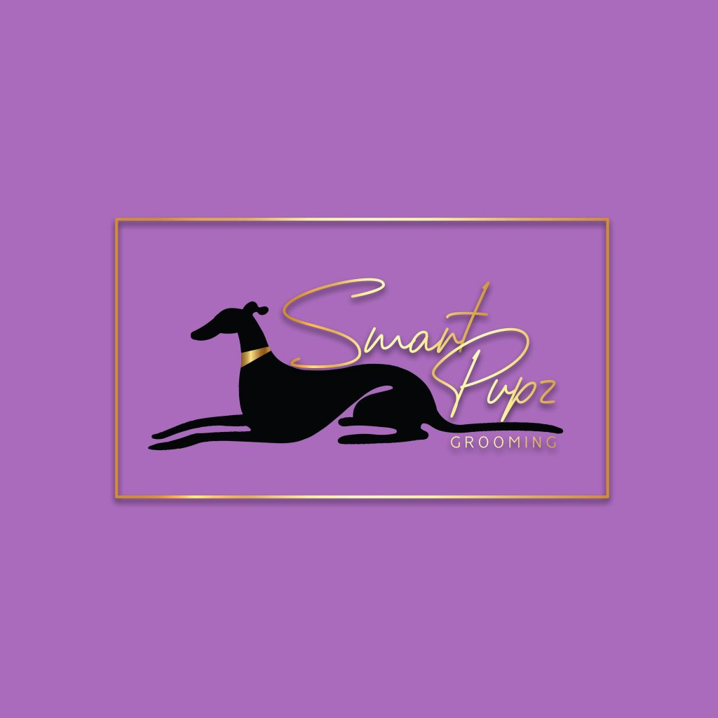 greyhound, whippet silhoutte, with collar, black and gold, dog grooing logo, purple,