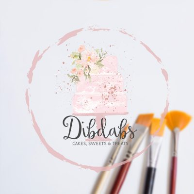 Bakery logo, cake logo, watercolour, 3 tier watercolour cake logo, sweets, pink, white, floral, rose gold, blush pink