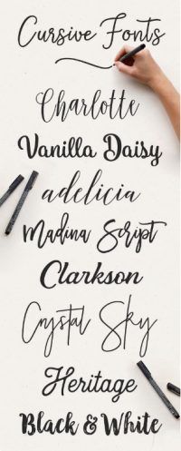 cursive font pairing, swrirly fonts, best font for a logo