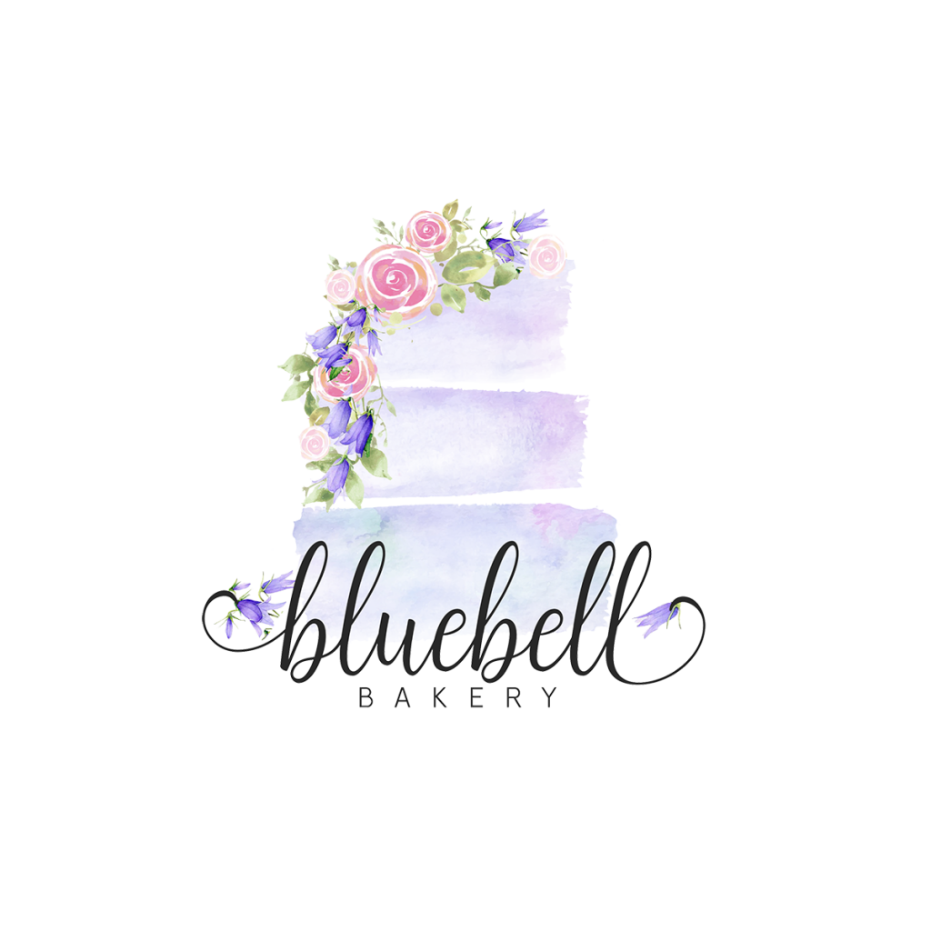 watercolour cake logo, logo design, bakery branding, blue, purple, pink, cookie logo, 3 tier cake logo, abstract cake, cake painting