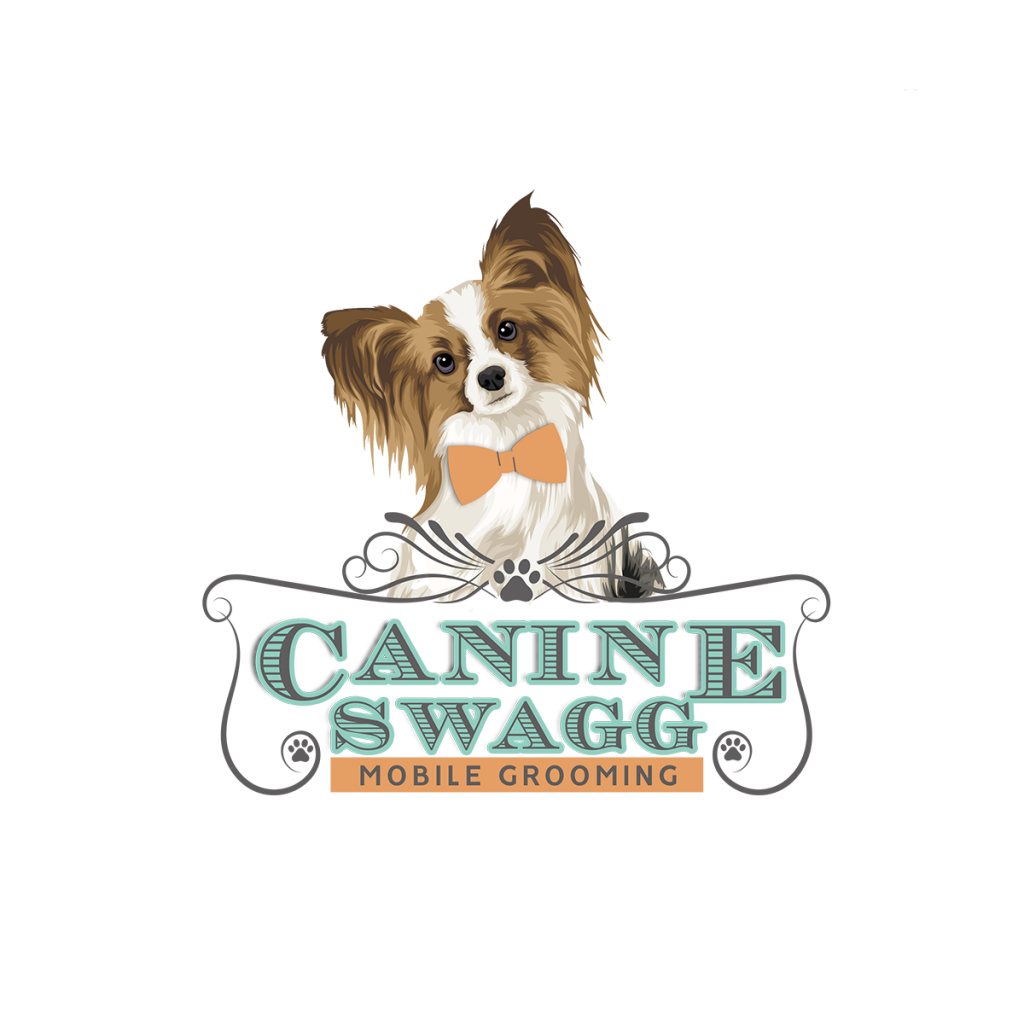 dog grooming logo design, pet grooming, logo branding, dog logo, bow tie, pappilon
