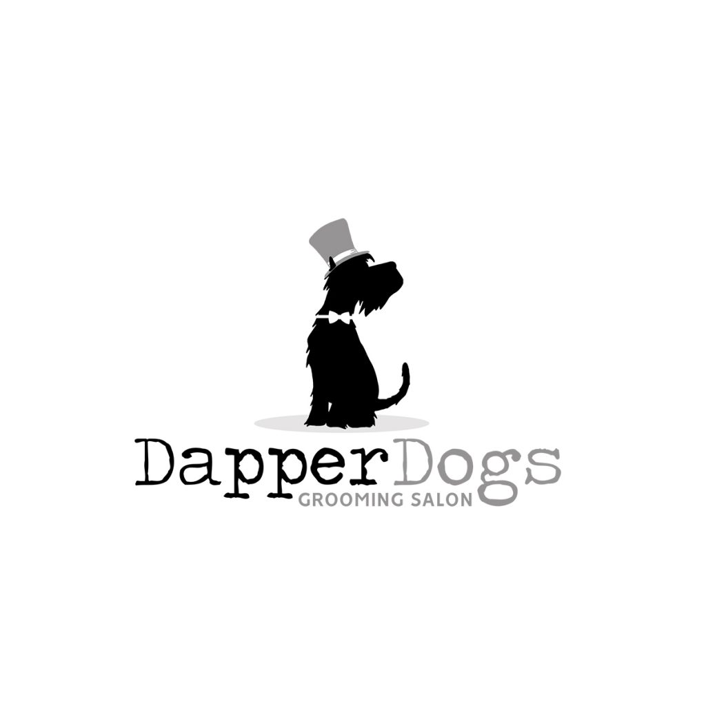 Dapper Dogs, Dog grooming logo, logo design, dog logo, dog in hat, bow tie, black, schnauzer, grooming logo design