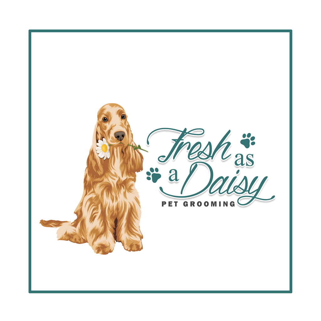 Dog grooming logo design, dog groomer, spaniel cartoon, daisy, pet grooming, dog logo, branding, dog holding flower