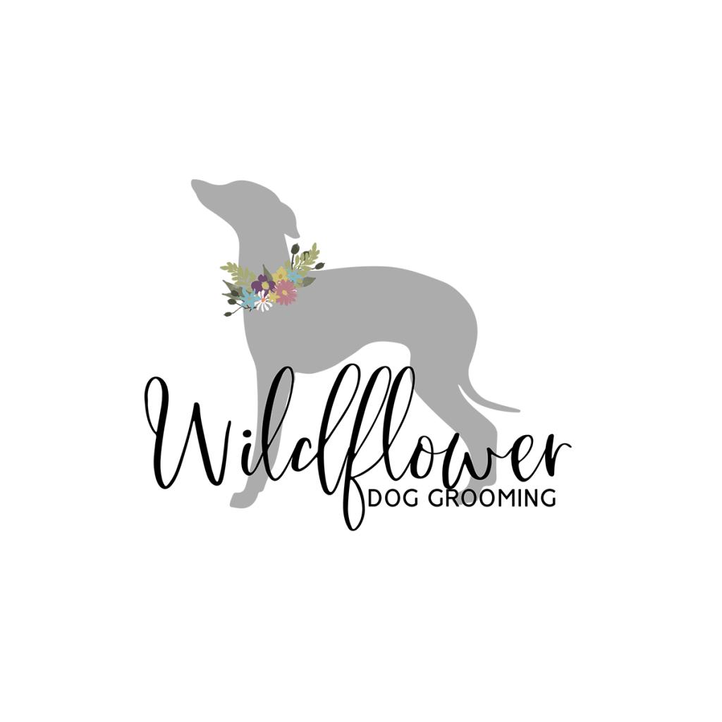 Dog grooming logo, flowers, whippet logo, whippet silhoutte, logo design