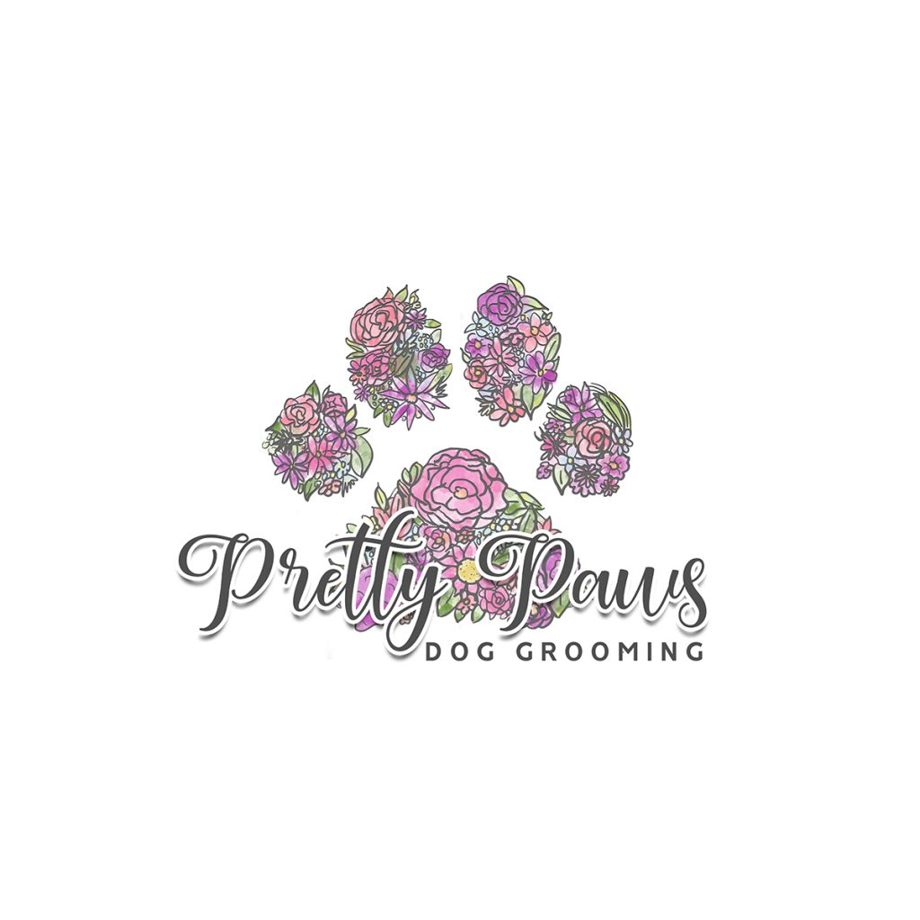 paw logo, watercolour paw, dog grooming logo, flower paw logo, logo design, dog logo, branding, custom logo